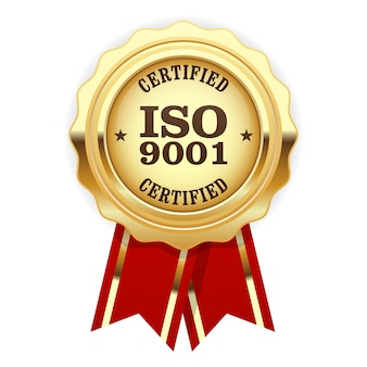 Certificação iso 9001 - selo dourado de padrão de qualidade