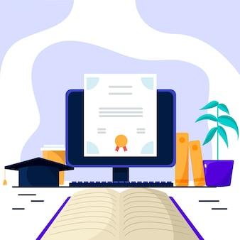Certificação online com computador e livro