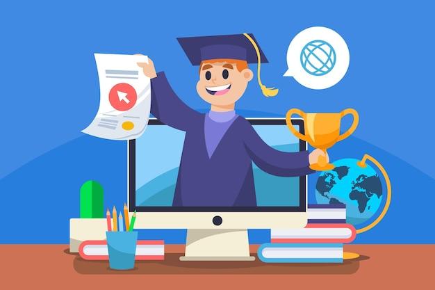 Certificação online com graduação e computador