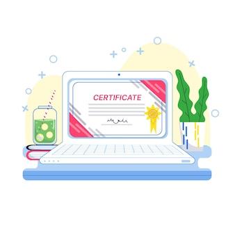 Certificação online com laptop