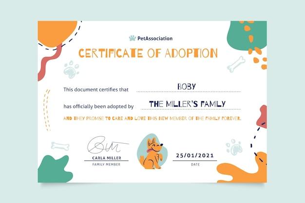 Certificado abstrato de animais de estimação semelhantes a crianças