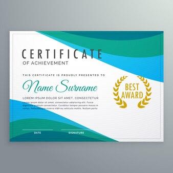 Certificado abstrato de onda azul do projeto de modelo de realização