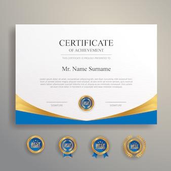 Certificado azul e dourado com modelo de crachá e fronteira