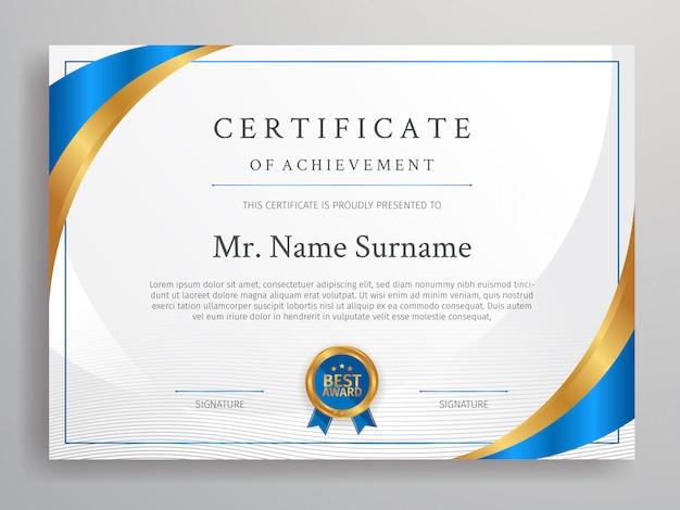 Certificado azul e dourado do modelo de fronteira de conquista