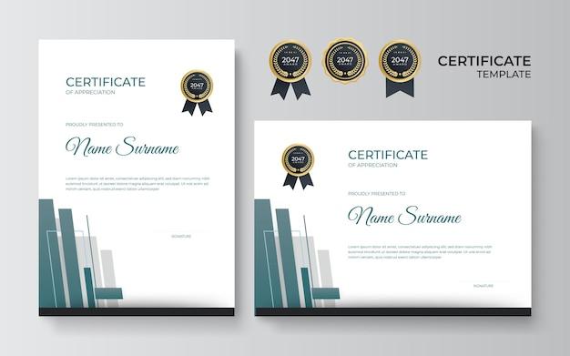 Certificado azul moderno. modelo de certificado de agradecimento, cor ouro e azul. limpe o certificado moderno com crachá de ouro. modelo de borda de certificado com padrão de linha de luxo e moderno.