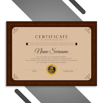 Certificado bonito abstrato elegante
