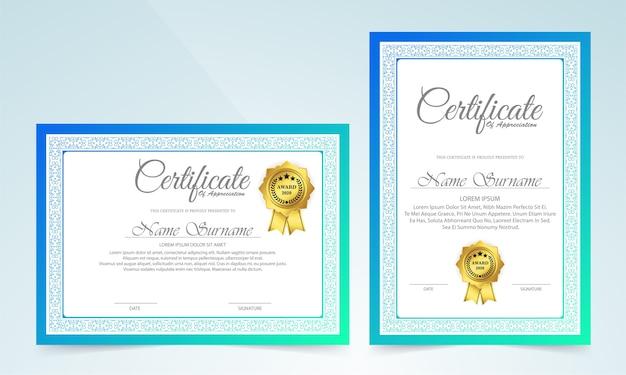 Certificado clássico com design de moldura