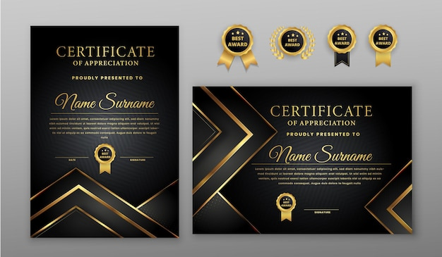 Certificado com crachá dourado e preto e modelo de borda