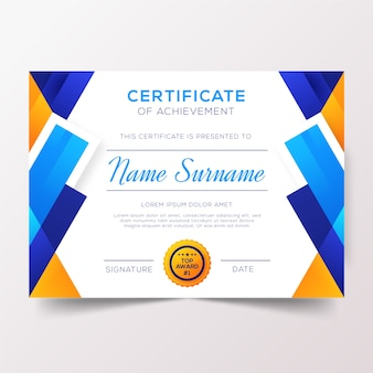 Certificado com design de fita de prêmio superior