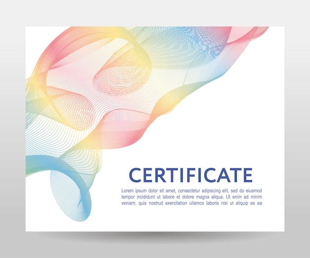 Certificado com design futurista de fluxo de onda swoosh de alta tecnologia