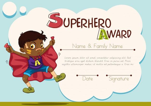 Certificado com menino sendo fundo de super-herói