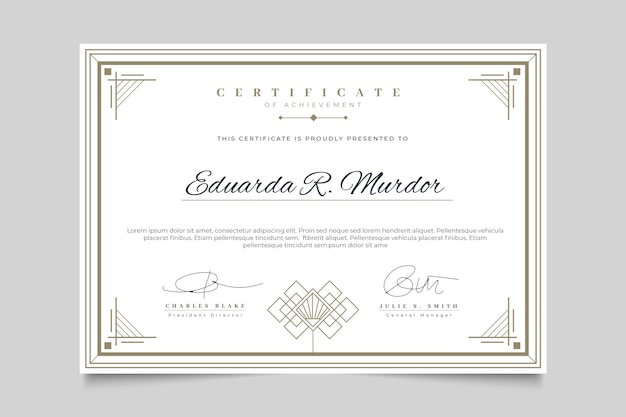 Certificado com modelo de moldura elegante