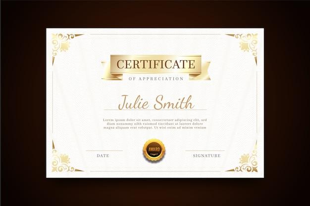 Certificado com modelo elegante de quadro