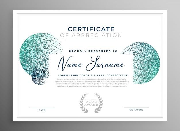 Certificado criativo moderno de modelo de agradecimento