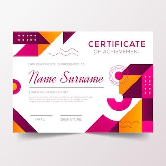 Certificado de agradecimento com desenho geométrico