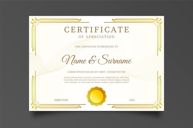 Certificado de agradecimento com moldura dourada e sol de arco