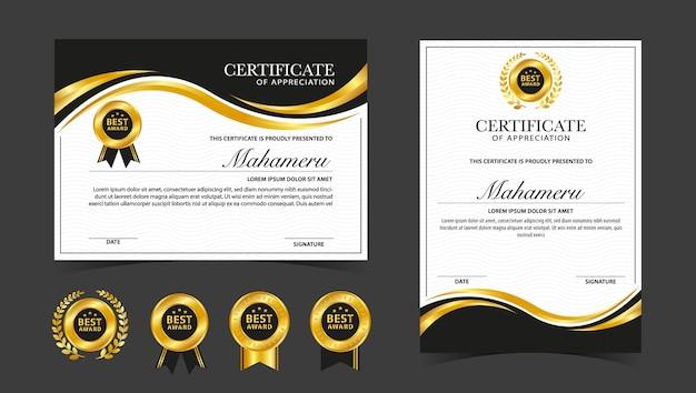 Certificado de agradecimento modelo dourado e preto