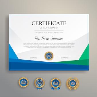 Certificado de agradecimento nas cores azul e verde com emblema e borda de ouro