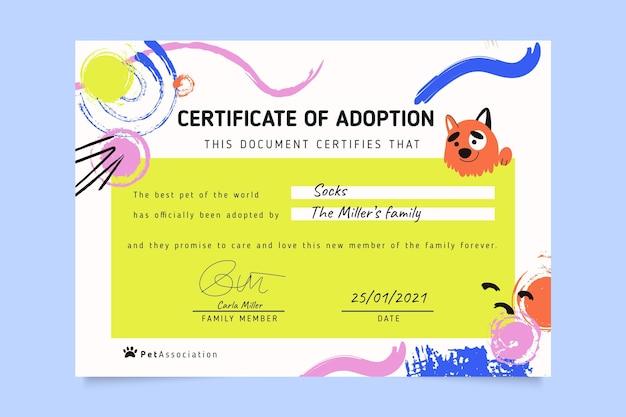 Certificado de animais de estimação coloridos com pintura abstrata