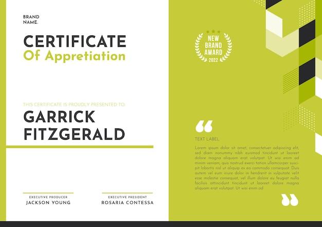 Certificado de apreciação apartamento moderno