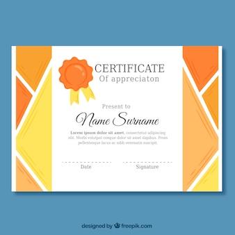 Certificado de apreciação com formas geométricas