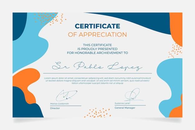 Certificado de apreciação com formas orgânicas