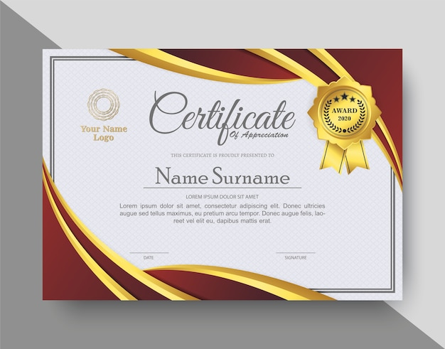 Certificado de apreciação criativa com vermelho e dourado