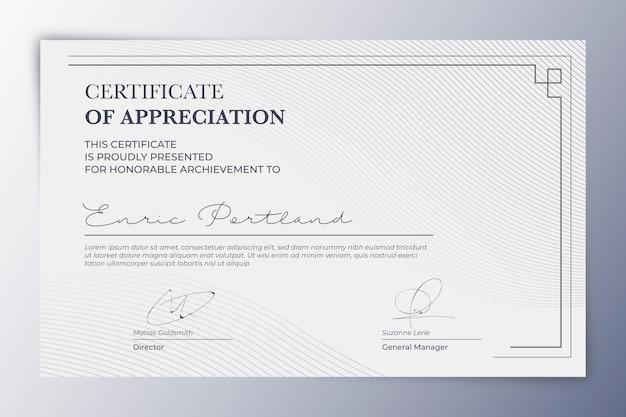 Certificado de apreciação elegante
