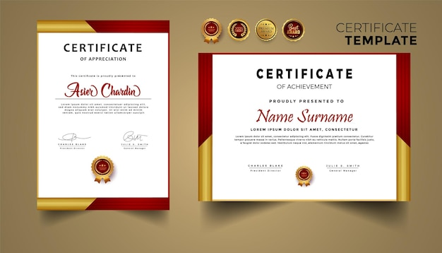 Certificado de apreciação em vermelho e dourado com molde de borda