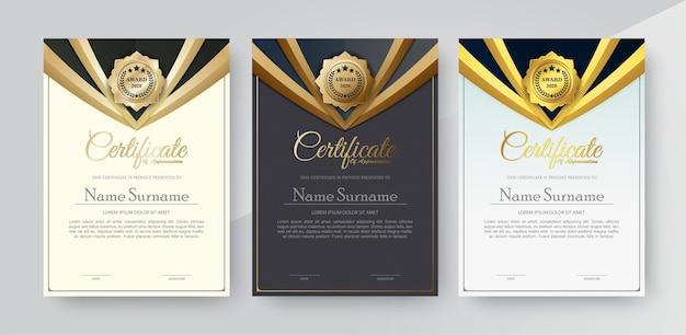 Certificado de apreciação melhor conjunto de diploma de prêmio.