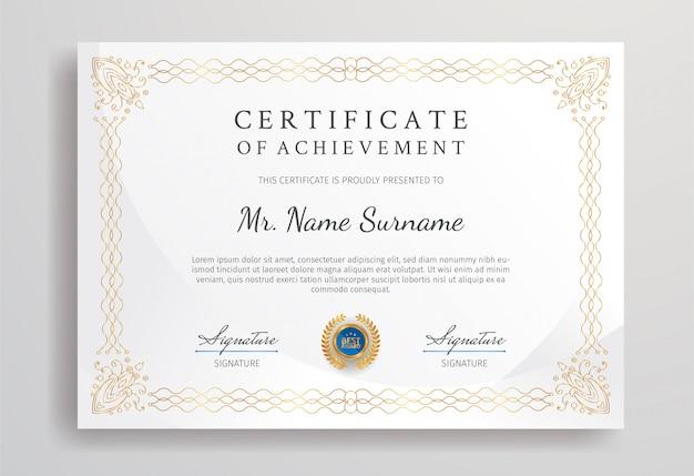 Certificado de apreciação na cor azul e ouro com modelo de borda