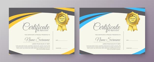 Certificado de aprovação conjunto de diploma de melhor prêmio