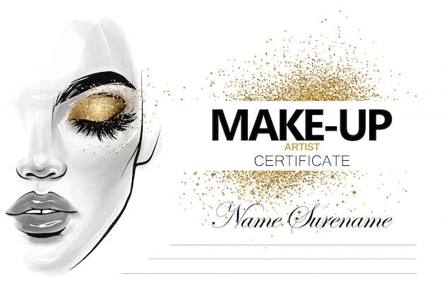 Certificado de artista de maquiagem. modelo de design de diploma de escola de beleza.