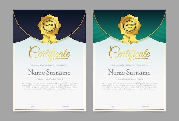 Certificado de associação do melhor conjunto de diploma de prêmio
