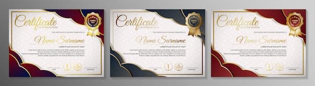 Certificado de associação melhor conjunto de modelo de diploma de prêmio.