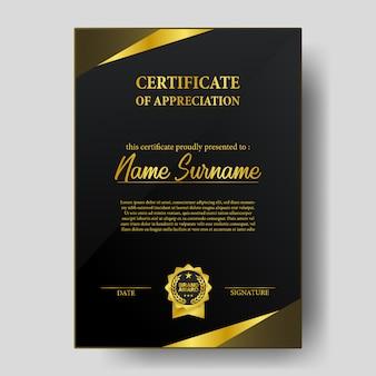Certificado de beleza com modelo de emblema de medalha de prêmio de marca dourada
