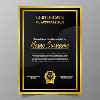 Certificado de beleza com pin de prêmio de marca de ouro
