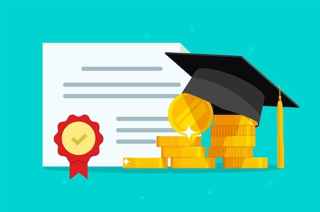 Certificado de bolsa de estudos, ilustração de dinheiro para estudo de educação