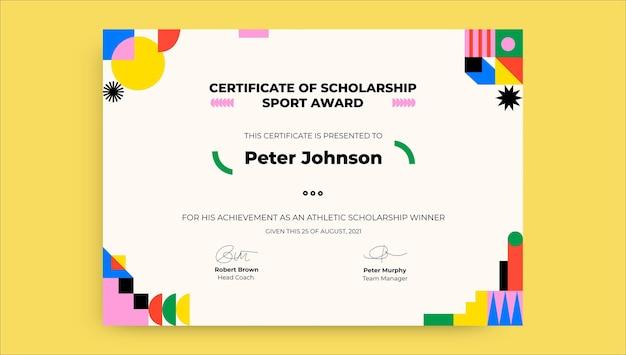 Certificado de bolsa esportiva moderna simples
