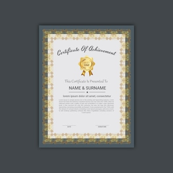 Certificado de borda elegante de modelo de apreciação