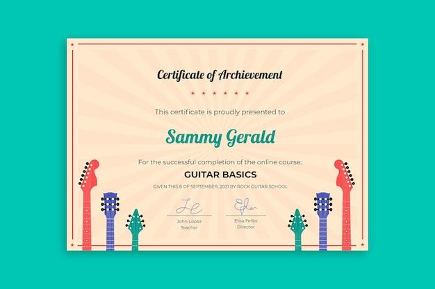 Certificado de conceitos básicos de guitarra vintage criativa