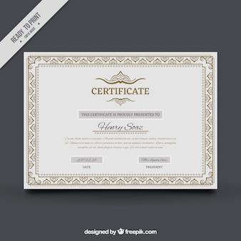 Certificado de conclusão com frame decorativo