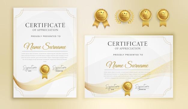 Certificado de conclusão de agradecimento linhas onduladas douradas e modelo de borda