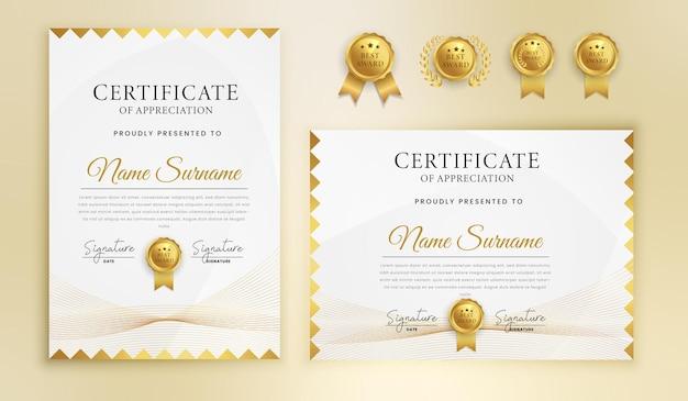 Certificado de conclusão de agradecimento modelo de borda de arte em linha ondulada dourada