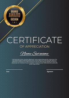 Certificado de conjunto de modelo de realização fundo com crachá de ouro e borda. projeto do diploma do prêmio em branco.
