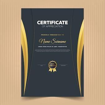 Certificado de conquista com linhas douradas