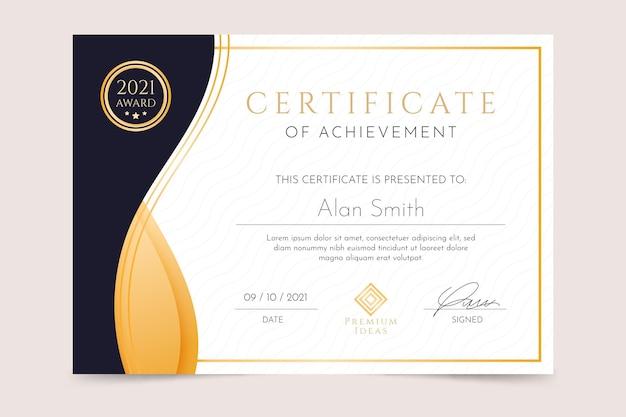 Certificado de conquista de luxo gradiente