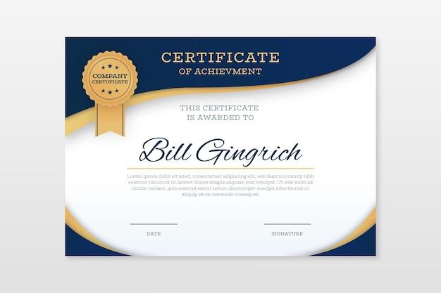 Certificado de conquista elegante