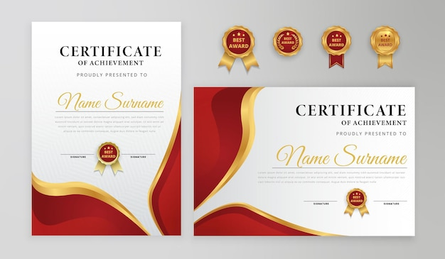 Certificado de conquista moderno e elegante em vermelho e dourado para atender às necessidades de negócios e educação de prêmios com modelo de padrão de linha de emblemas