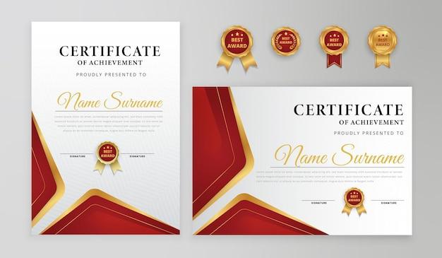 Certificado de conquista moderno vermelho e dourado para necessidades de negócios e educação premiadas com modelo de padrão de linha de emblemas